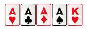 Mano de poker de ases en el poker